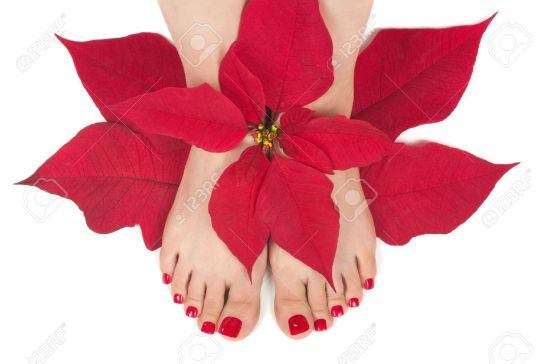 11390799-christmas-spa-with-pedicured-feet-stock-photo-pedicure